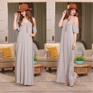 Maxi Dress Cold Shoulder Gray Button Front Boho